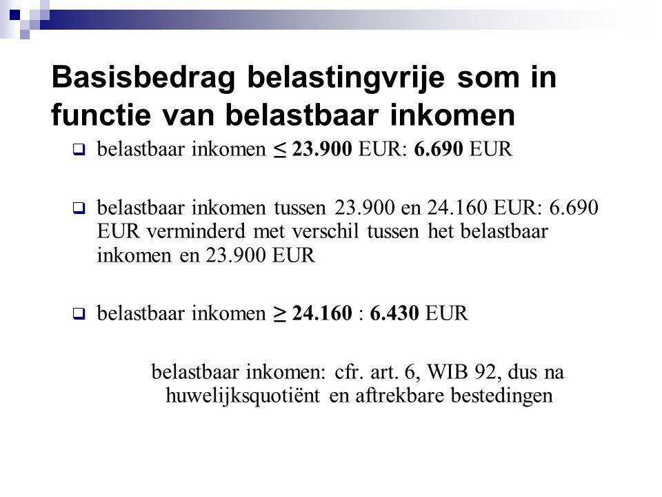 Basisbedrag belastingvrije som in functie van belastbaar inkomen  belastbaar inkomen ≤ 23.900 EUR: 6.690 EUR  belastbaar inkomen tussen 23.900 en 24