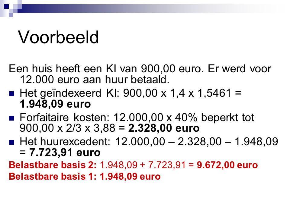 Voorbeeld Een huis heeft een KI van 900,00 euro. Er werd voor 12.000 euro aan huur betaald.  Het geïndexeerd KI: 900,00 x 1,4 x 1,5461 = 1.948,09 eur