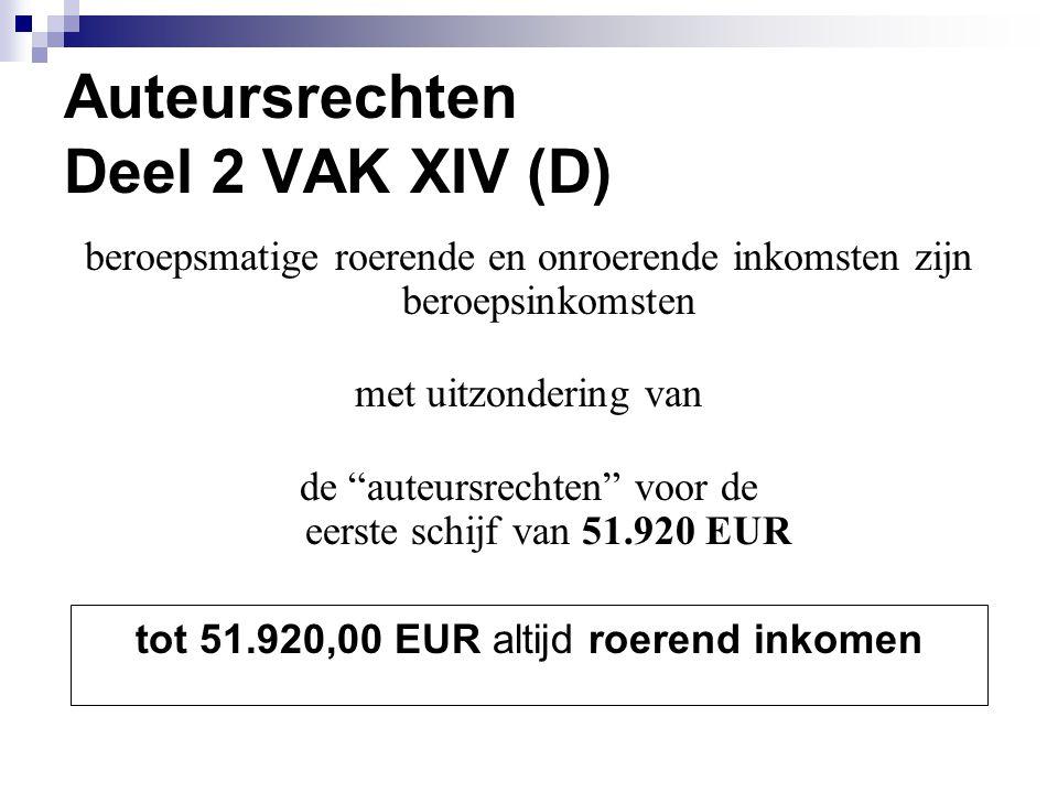 """Auteursrechten Deel 2 VAK XIV (D) beroepsmatige roerende en onroerende inkomsten zijn beroepsinkomsten met uitzondering van de """"auteursrechten"""" voor d"""