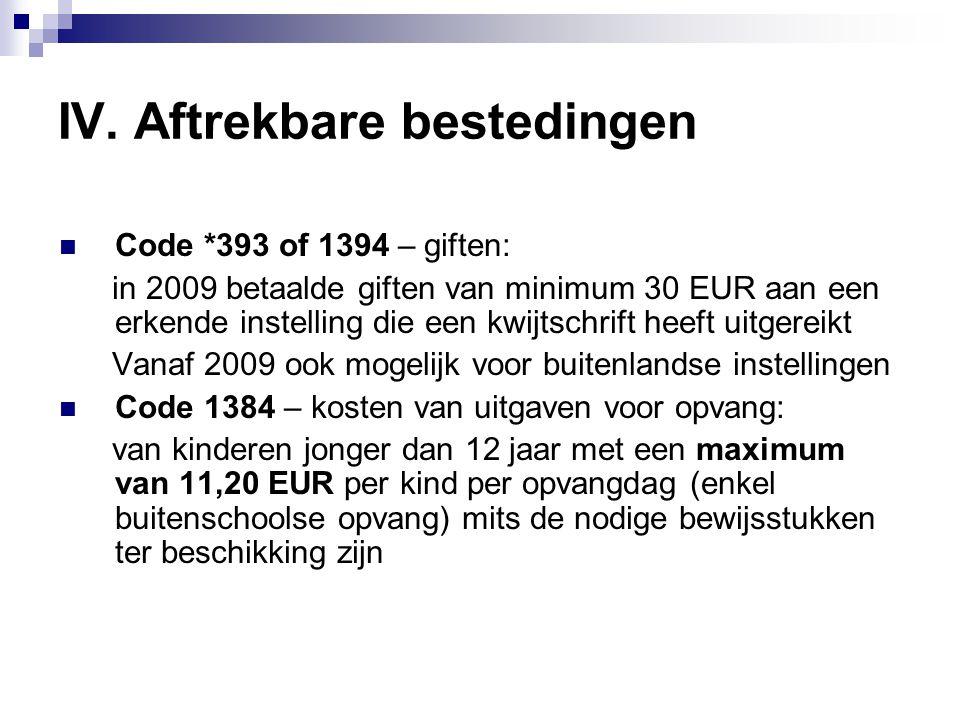 IV. Aftrekbare bestedingen  Code *393 of 1394 – giften: in 2009 betaalde giften van minimum 30 EUR aan een erkende instelling die een kwijtschrift he