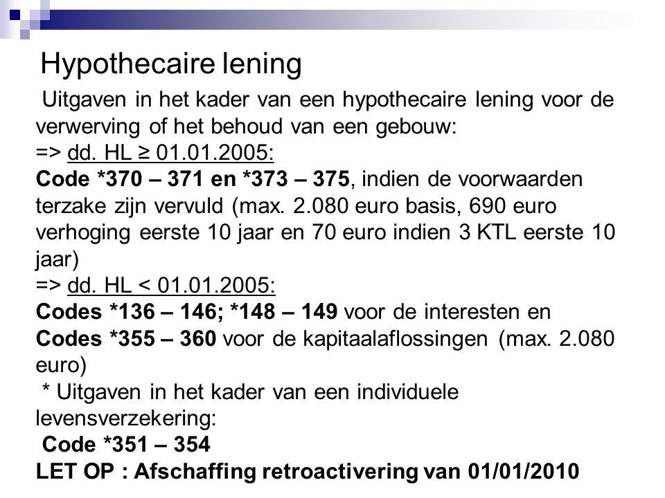 Hypothecaire lening Uitgaven in het kader van een hypothecaire lening voor de verwerving of het behoud van een gebouw: => dd. HL ≥ 01.01.2005: Code *3