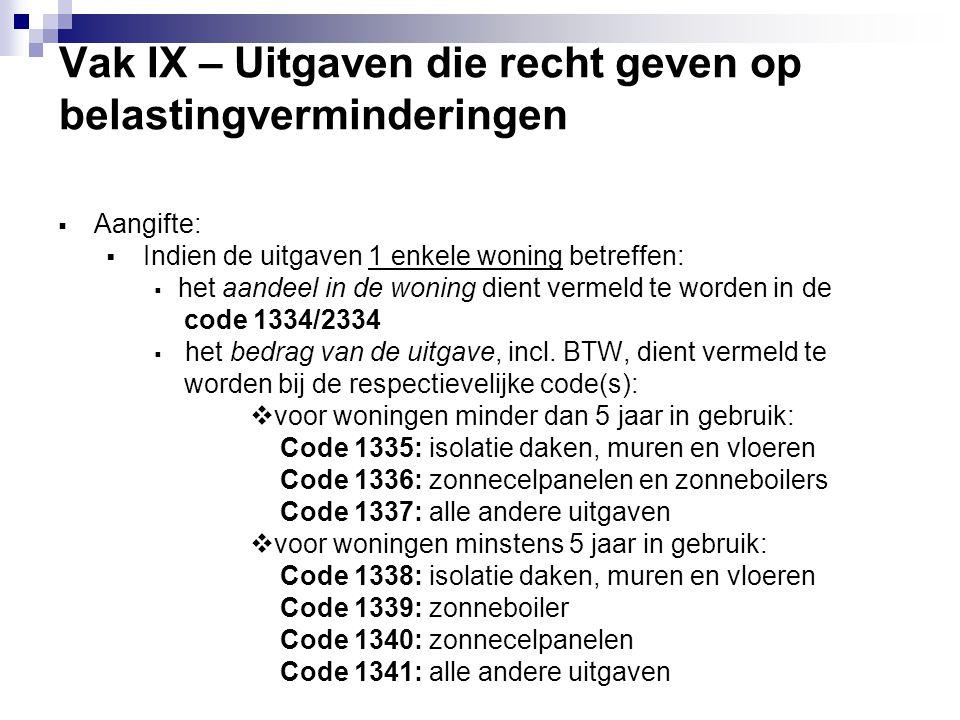 Vak IX – Uitgaven die recht geven op belastingverminderingen  Aangifte:  Indien de uitgaven 1 enkele woning betreffen:  het aandeel in de woning di