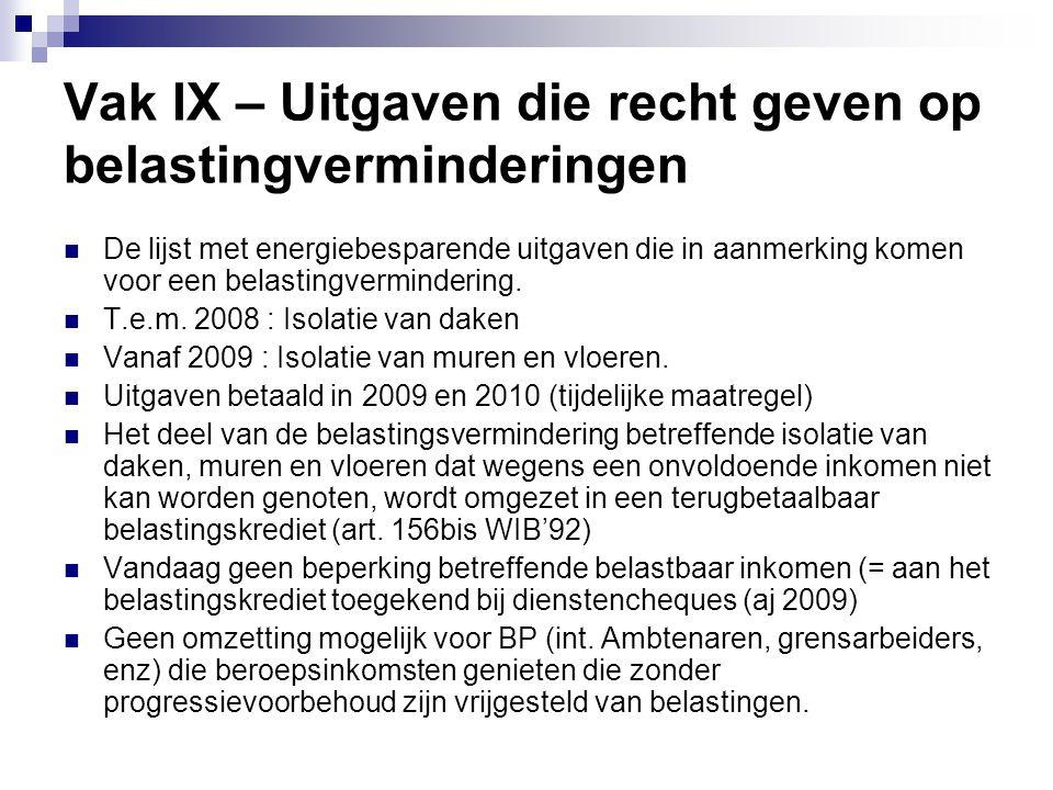 Vak IX – Uitgaven die recht geven op belastingverminderingen  De lijst met energiebesparende uitgaven die in aanmerking komen voor een belastingvermi