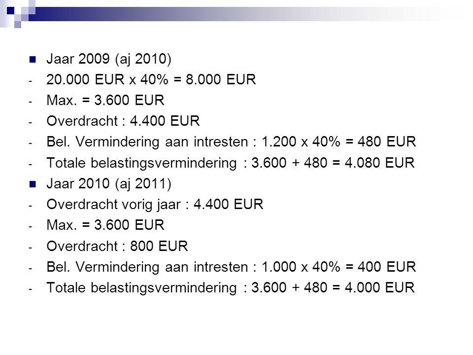  Jaar 2009 (aj 2010) - 20.000 EUR x 40% = 8.000 EUR - Max. = 3.600 EUR - Overdracht : 4.400 EUR - Bel. Vermindering aan intresten : 1.200 x 40% = 480