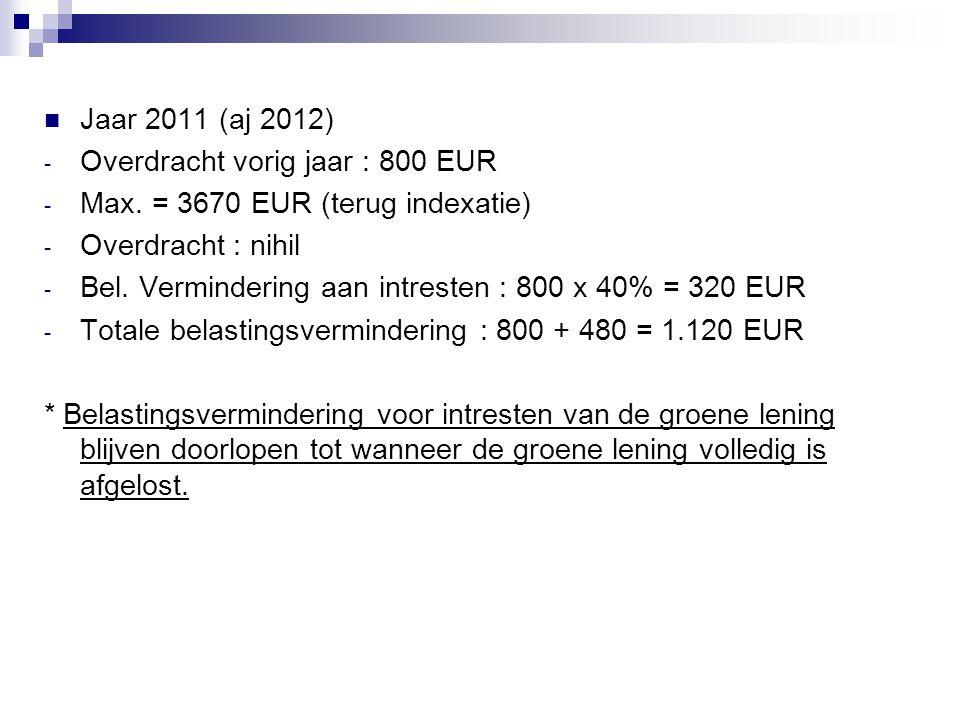  Jaar 2011 (aj 2012) - Overdracht vorig jaar : 800 EUR - Max. = 3670 EUR (terug indexatie) - Overdracht : nihil - Bel. Vermindering aan intresten : 8