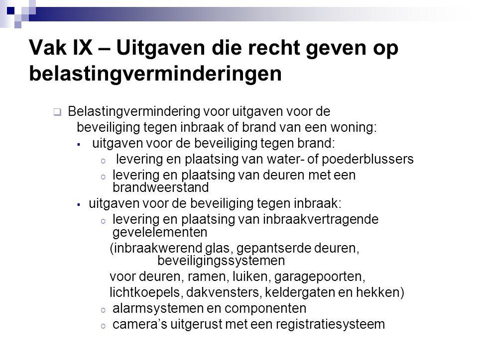 Vak IX – Uitgaven die recht geven op belastingverminderingen  Belastingvermindering voor uitgaven voor de beveiliging tegen inbraak of brand van een