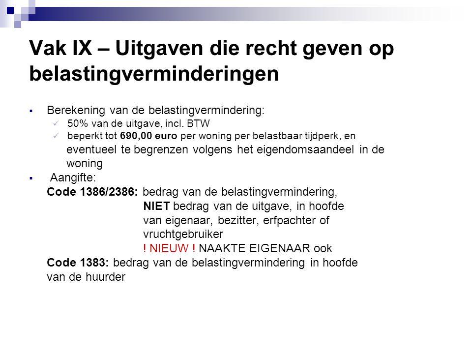 Vak IX – Uitgaven die recht geven op belastingverminderingen  Berekening van de belastingvermindering:  50% van de uitgave, incl. BTW  beperkt tot