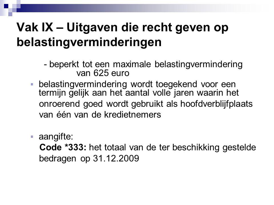 Vak IX – Uitgaven die recht geven op belastingverminderingen - beperkt tot een maximale belastingvermindering van 625 euro  belastingvermindering wor