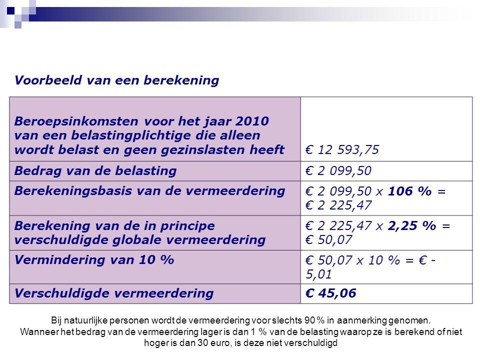 Voorbeeld van een berekening Beroepsinkomsten voor het jaar 2010 van een belastingplichtige die alleen wordt belast en geen gezinslasten heeft€ 12 593