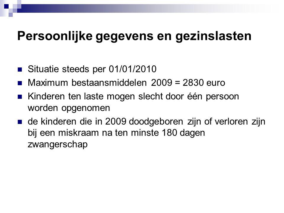 Persoonlijke gegevens en gezinslasten  Situatie steeds per 01/01/2010  Maximum bestaansmiddelen 2009 = 2830 euro  Kinderen ten laste mogen slecht d