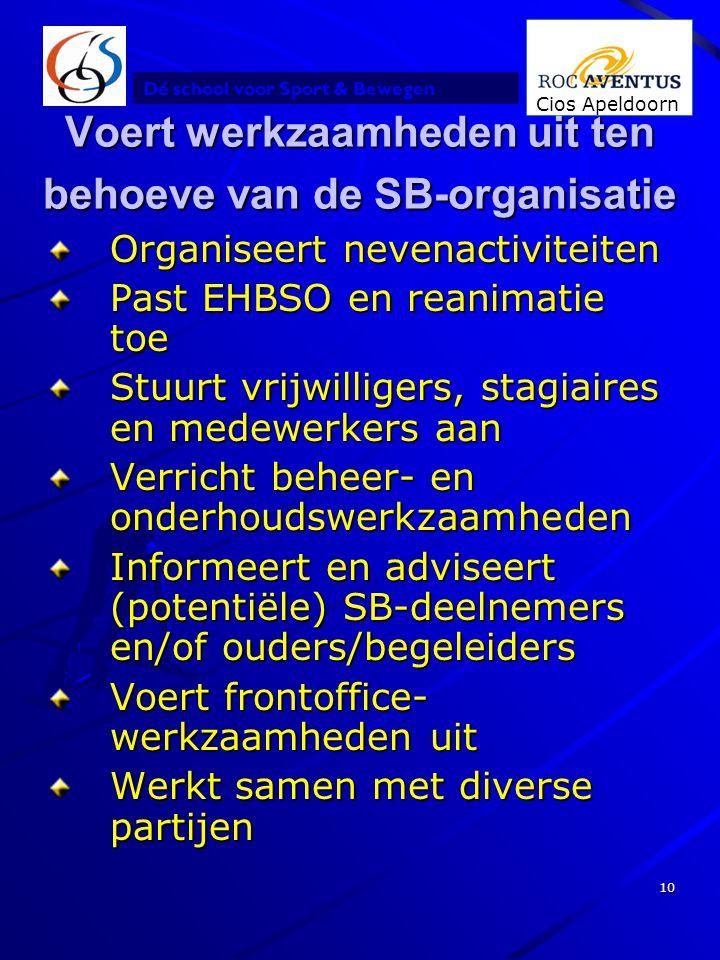 Dé school voor Sport & Bewegen Cios Apeldoorn 10 Voert werkzaamheden uit ten behoeve van de SB-organisatie Organiseert nevenactiviteiten Past EHBSO en