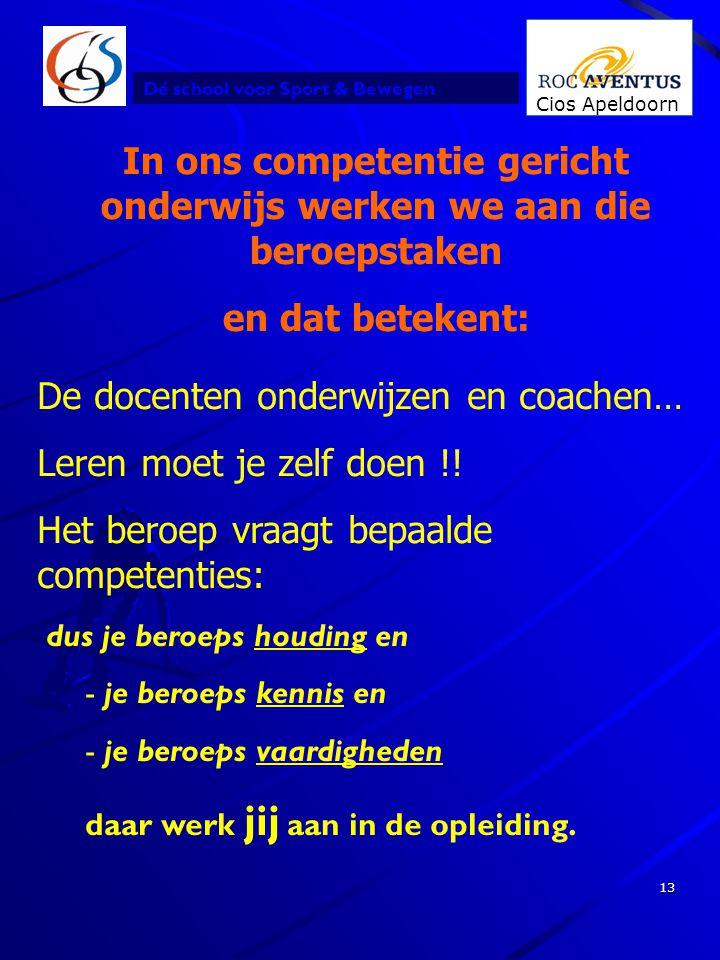 Dé school voor Sport & Bewegen Cios Apeldoorn 13 In ons competentie gericht onderwijs werken we aan die beroepstaken en dat betekent: De docenten onde