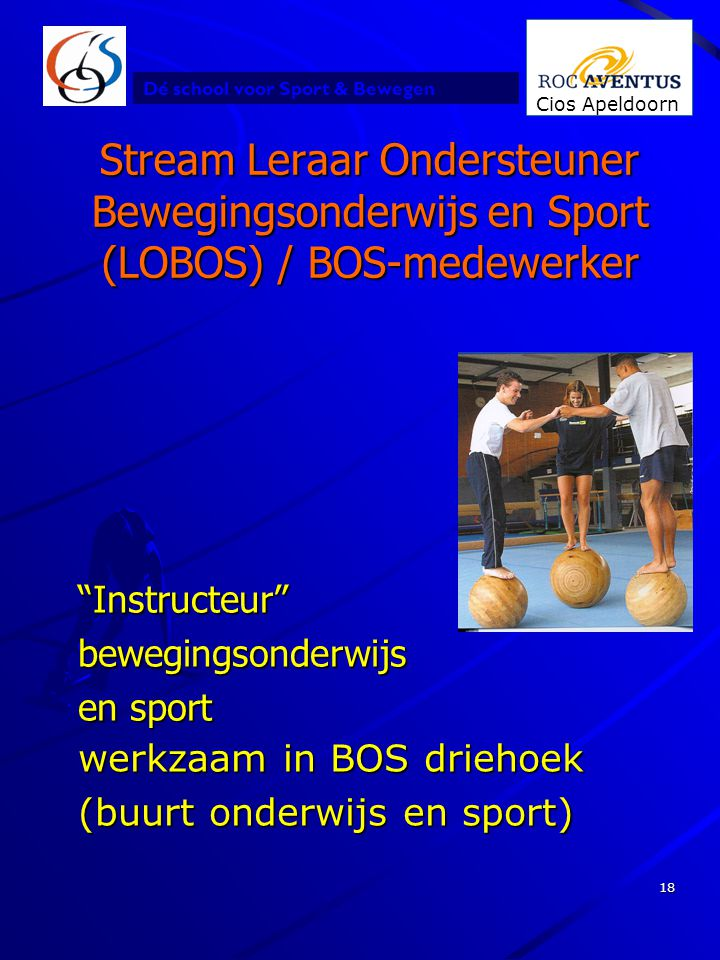 """Dé school voor Sport & Bewegen Cios Apeldoorn 18 Stream Leraar Ondersteuner Bewegingsonderwijs en Sport (LOBOS) / BOS-medewerker """"Instructeur""""beweging"""