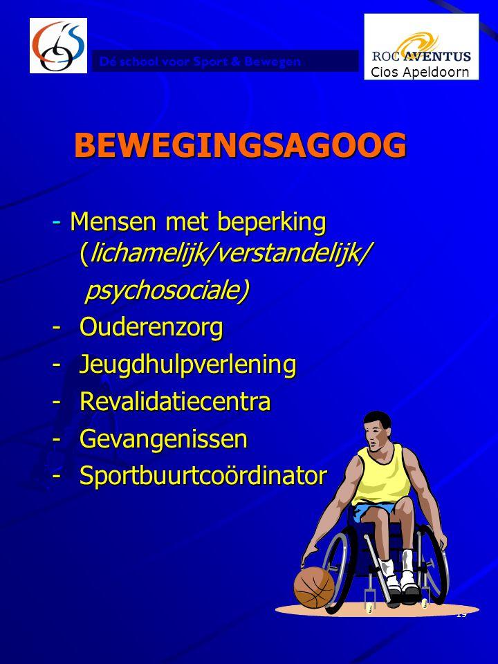 Dé school voor Sport & Bewegen Cios Apeldoorn 19 BEWEGINGSAGOOG - Mensen met beperking (lichamelijk/verstandelijk/ psychosociale) psychosociale) -Oude