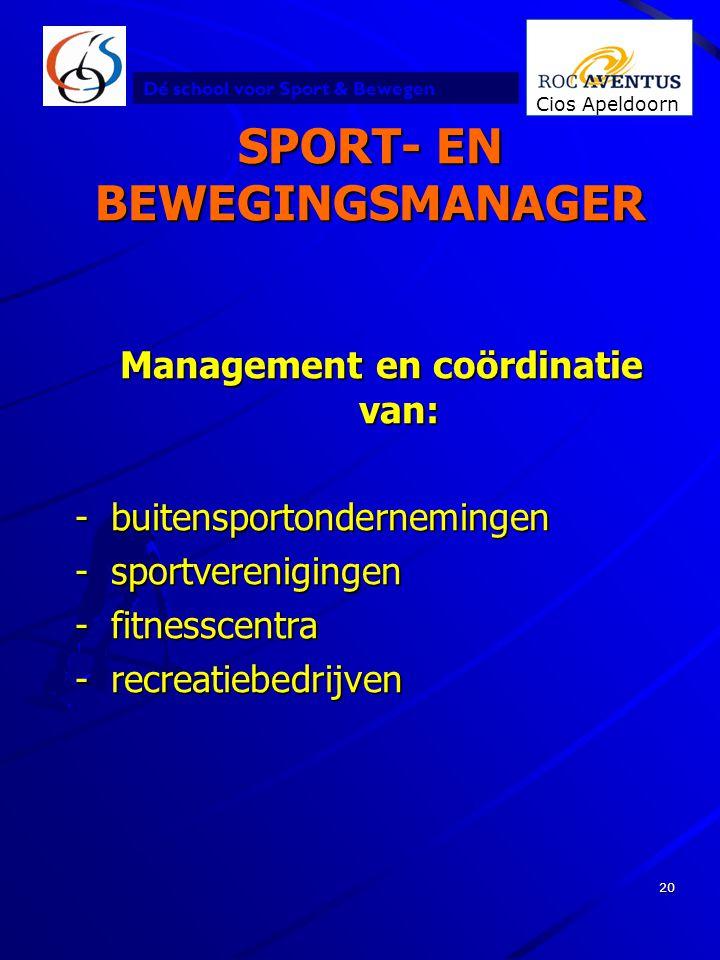 Dé school voor Sport & Bewegen Cios Apeldoorn 20 SPORT- EN BEWEGINGSMANAGER Management en coördinatie van: -buitensportondernemingen -sportvereniginge