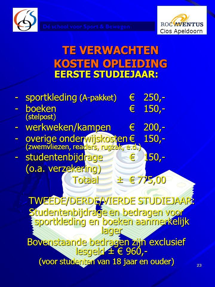 Dé school voor Sport & Bewegen Cios Apeldoorn 23 TE VERWACHTEN KOSTEN OPLEIDING EERSTE STUDIEJAAR: -sportkleding (A-pakket) € 250,- -boeken€ 150,- (st