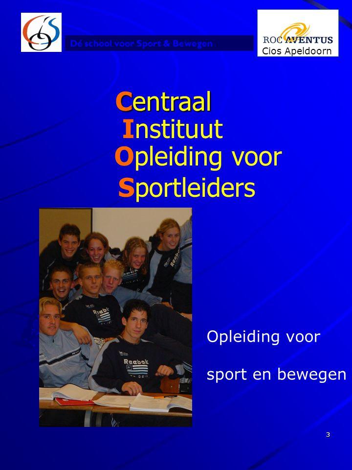 Dé school voor Sport & Bewegen Cios Apeldoorn 3 Centraal Centraal Instituut Opleiding voor Sportleiders Opleiding voor sport en bewegen
