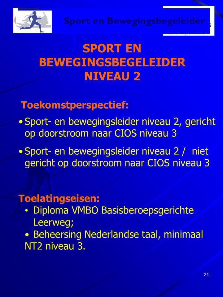 Dé school voor Sport & Bewegen Cios Apeldoorn 31 SPORT EN BEWEGINGSBEGELEIDER NIVEAU 2 Toekomstperspectief: Sport en Bewegingsbegeleider •Sport- en be