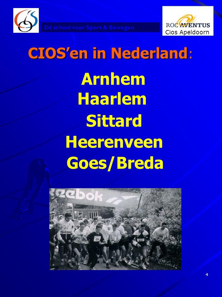 Dé school voor Sport & Bewegen Cios Apeldoorn 4 CIOS'en in Nederland : Haarlem Heerenveen Arnhem Sittard Goes/Breda