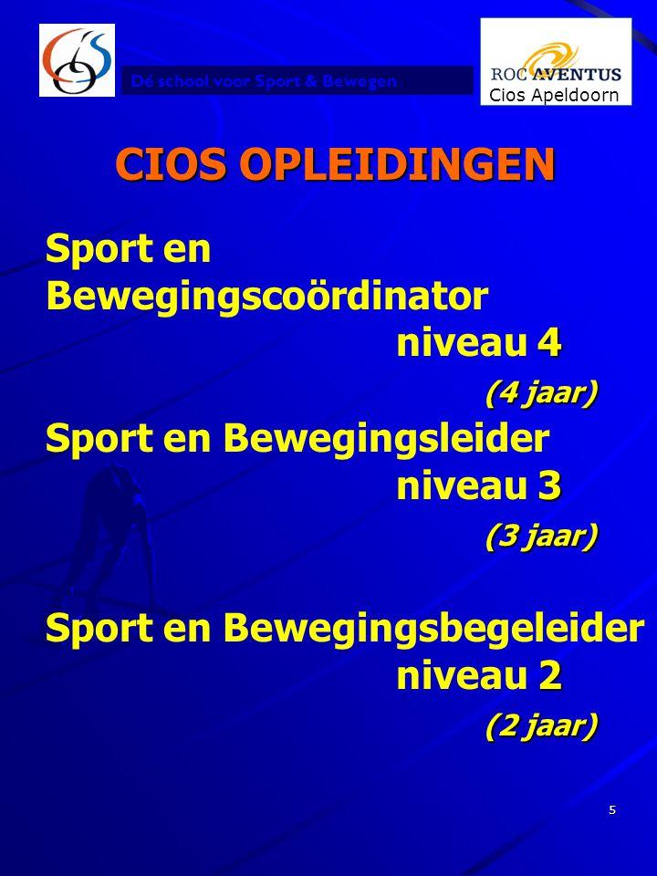 Dé school voor Sport & Bewegen Cios Apeldoorn 5 CIOS OPLEIDINGEN 2 Sport en Bewegingsbegeleider niveau 2 (2 jaar) Sport en 4 (4 jaar) Bewegingscoördin