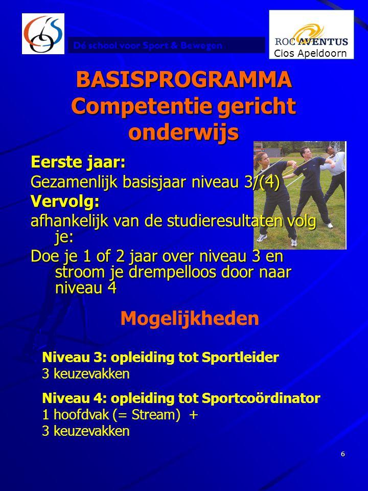 Dé school voor Sport & Bewegen Cios Apeldoorn 6 BASISPROGRAMMA Competentie gericht onderwijs Mogelijkheden Niveau 3: opleiding tot Sportleider 3 keuze