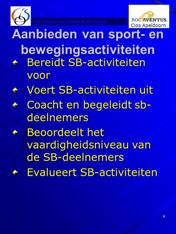 Dé school voor Sport & Bewegen Cios Apeldoorn 8 Aanbieden van sport- en bewegingsactiviteiten Bereidt SB-activiteiten voor Voert SB-activiteiten uit C