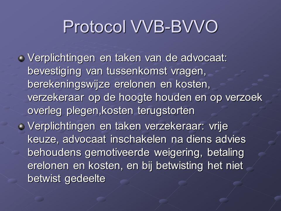 Protocol VVB-BVVO Verplichtingen en taken van de advocaat: bevestiging van tussenkomst vragen, berekeningswijze erelonen en kosten, verzekeraar op de