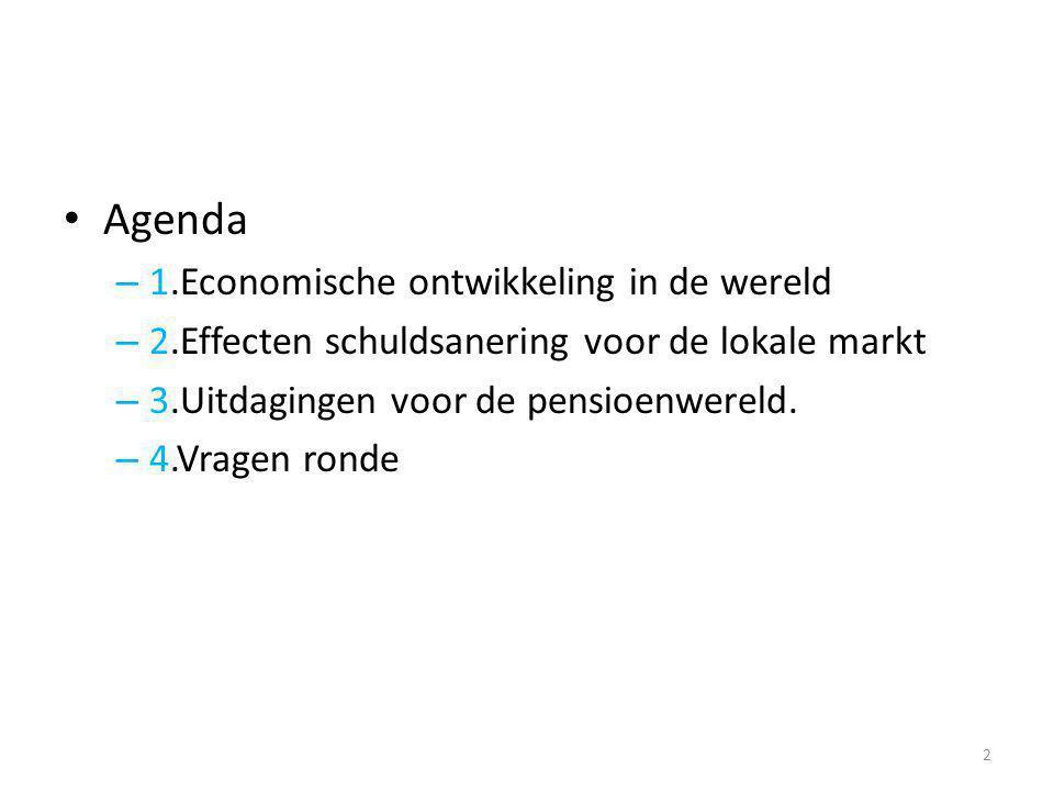 • Agenda – 1.Economische ontwikkeling in de wereld – 2.Effecten schuldsanering voor de lokale markt – 3.Uitdagingen voor de pensioenwereld. – 4.Vragen