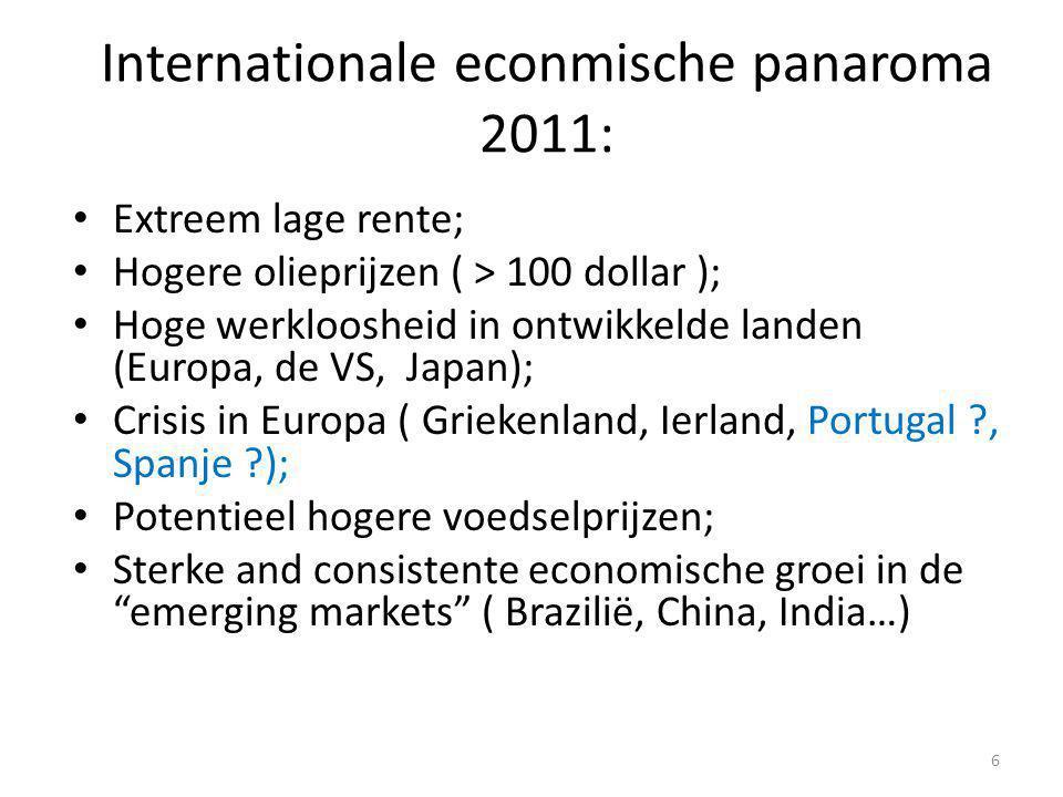 Internationale econmische panaroma 2011: • Extreem lage rente; • Hogere olieprijzen ( > 100 dollar ); • Hoge werkloosheid in ontwikkelde landen (Europa, de VS, Japan); • Crisis in Europa ( Griekenland, Ierland, Portugal ?, Spanje ?); • Potentieel hogere voedselprijzen; • Sterke and consistente economische groei in de emerging markets ( Brazilië, China, India…) 6
