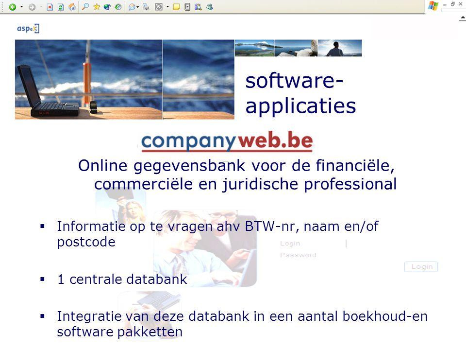 Company presentation by ASPeX software- applicaties Online gegevensbank voor de financiële, commerciële en juridische professional  Informatie op te