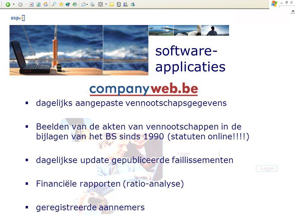Company presentation by ASPeX software- applicaties  dagelijks aangepaste vennootschapsgegevens  Beelden van de akten van vennootschappen in de bijl