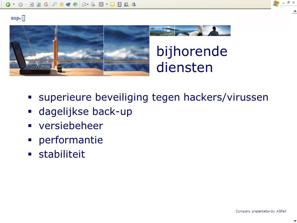 Company presentation by ASPeX  superieure beveiliging tegen hackers/virussen  dagelijkse back-up  versiebeheer  performantie  stabiliteit bijhore