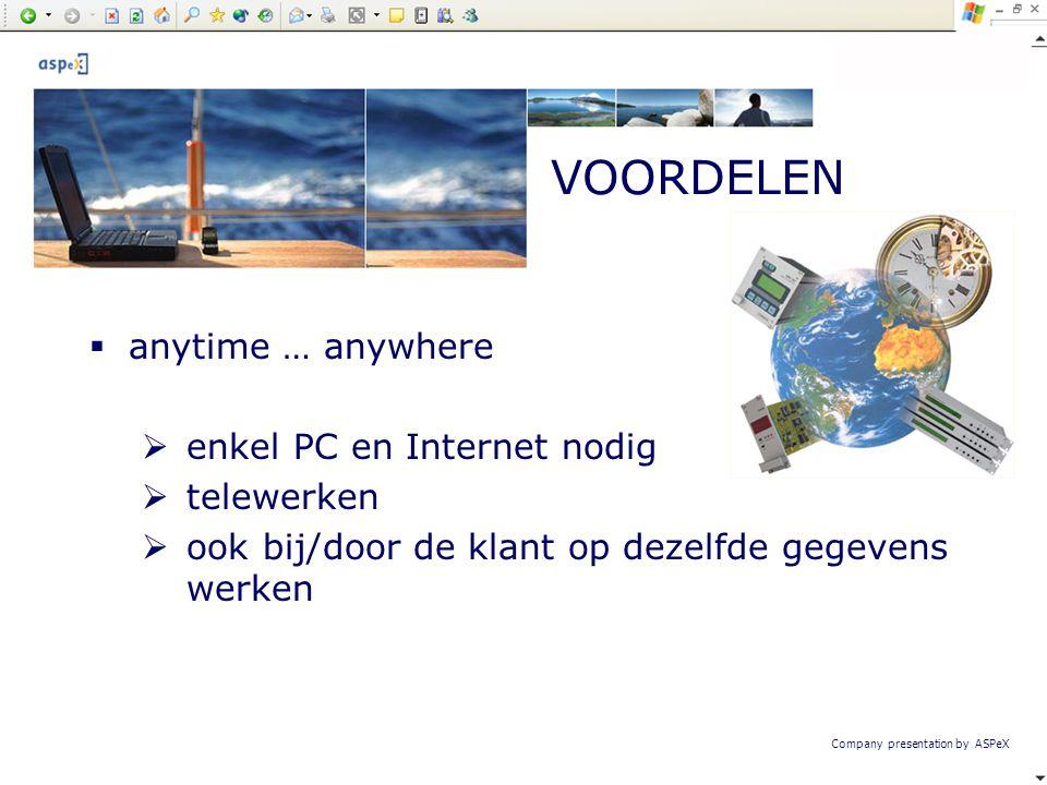 Company presentation by ASPeX  anytime … anywhere  enkel PC en Internet nodig  telewerken  ook bij/door de klant op dezelfde gegevens werken VOORD