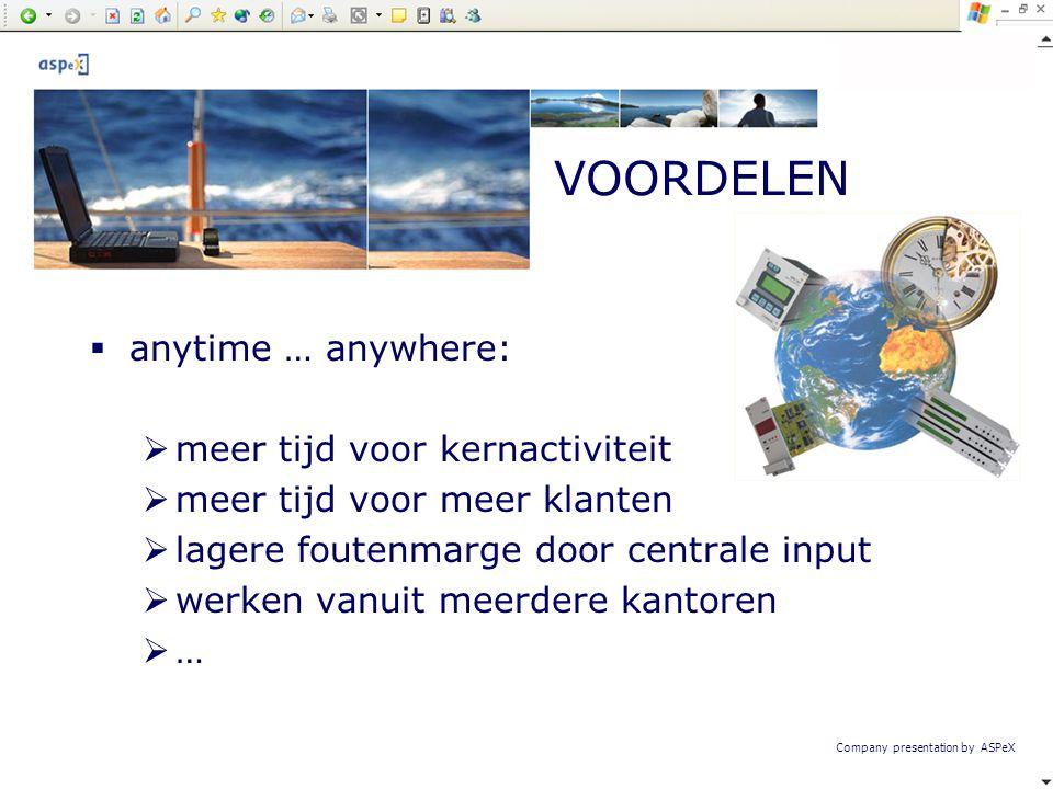 Company presentation by ASPeX  anytime … anywhere:  meer tijd voor kernactiviteit  meer tijd voor meer klanten  lagere foutenmarge door centrale i