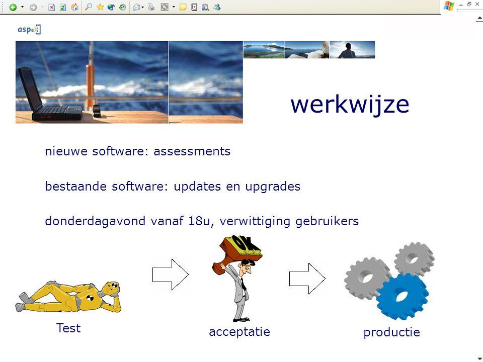 werkwijze Test acceptatie productie nieuwe software: assessments bestaande software: updates en upgrades donderdagavond vanaf 18u, verwittiging gebrui