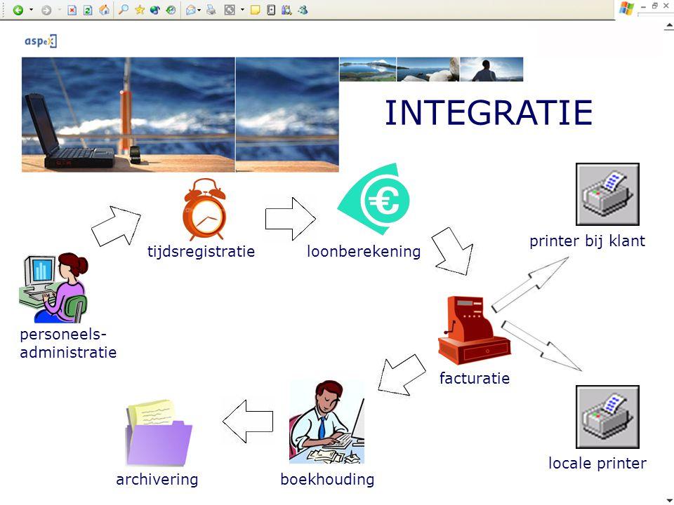 INTEGRATIE personeels- administratie tijdsregistratie loonberekening facturatie printer bij klantlocale printer boekhouding archivering