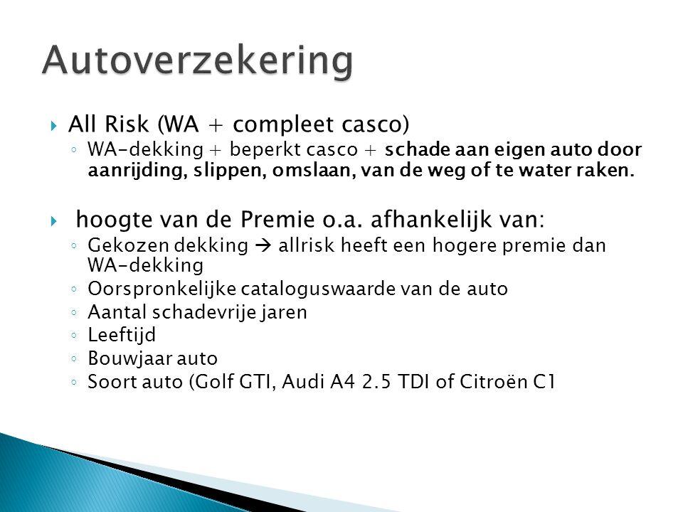  All Risk (WA + compleet casco) ◦ WA-dekking + beperkt casco + schade aan eigen auto door aanrijding, slippen, omslaan, van de weg of te water raken.