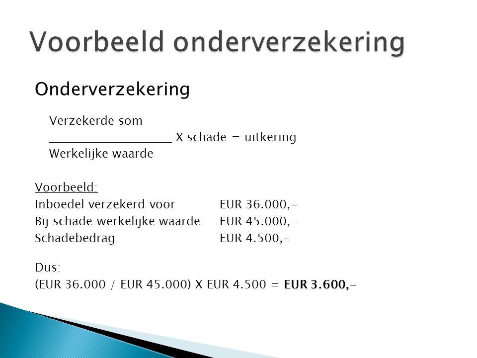 Onderverzekering Verzekerde som X schade = uitkering Werkelijke waarde Voorbeeld: Inboedel verzekerd voorEUR 36.000,- Bij schade werkelijke waarde:EUR