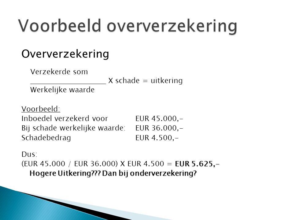 Oververzekering Verzekerde som X schade = uitkering Werkelijke waarde Voorbeeld: Inboedel verzekerd voorEUR 45.000,- Bij schade werkelijke waarde:EUR