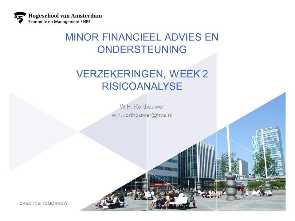 MINOR FINANCIEEL ADVIES EN ONDERSTEUNING VERZEKERINGEN, WEEK 2 RISICOANALYSE W.H. Korthouwer w.h.korthouwer@hva.nl 1