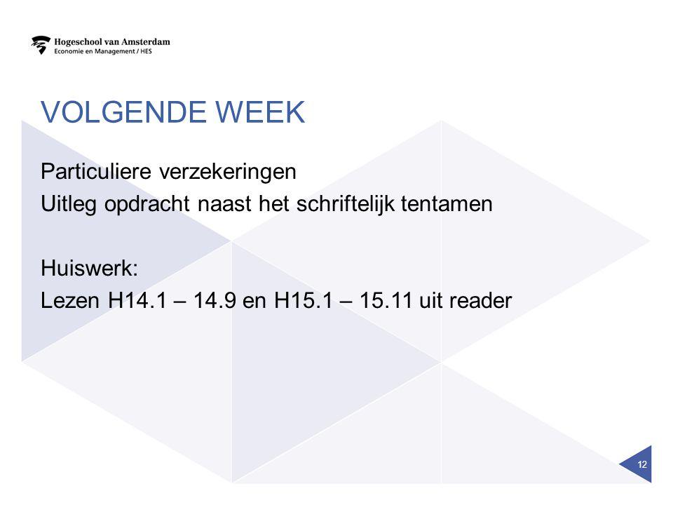 VOLGENDE WEEK Particuliere verzekeringen Uitleg opdracht naast het schriftelijk tentamen Huiswerk: Lezen H14.1 – 14.9 en H15.1 – 15.11 uit reader 12