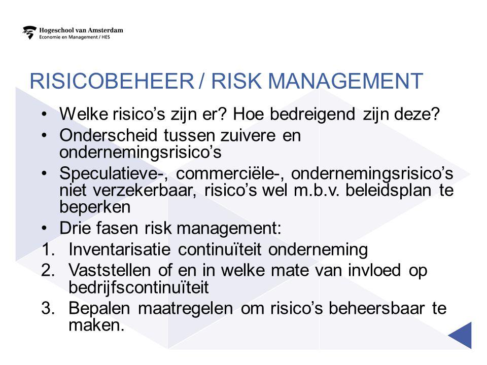 RISICOBEHEER / RISK MANAGEMENT •Welke risico's zijn er? Hoe bedreigend zijn deze? •Onderscheid tussen zuivere en ondernemingsrisico's •Speculatieve-,