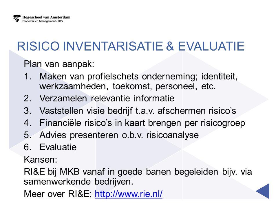 RISICO INVENTARISATIE & EVALUATIE Plan van aanpak: 1.Maken van profielschets onderneming; identiteit, werkzaamheden, toekomst, personeel, etc. 2.Verza