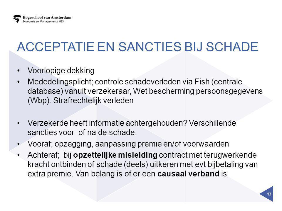 ACCEPTATIE EN SANCTIES BIJ SCHADE •Voorlopige dekking •Mededelingsplicht; controle schadeverleden via Fish (centrale database) vanuit verzekeraar, Wet bescherming persoonsgegevens (Wbp).