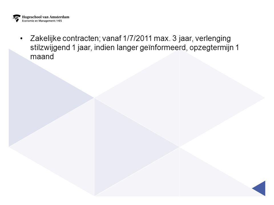 •Zakelijke contracten; vanaf 1/7/2011 max.