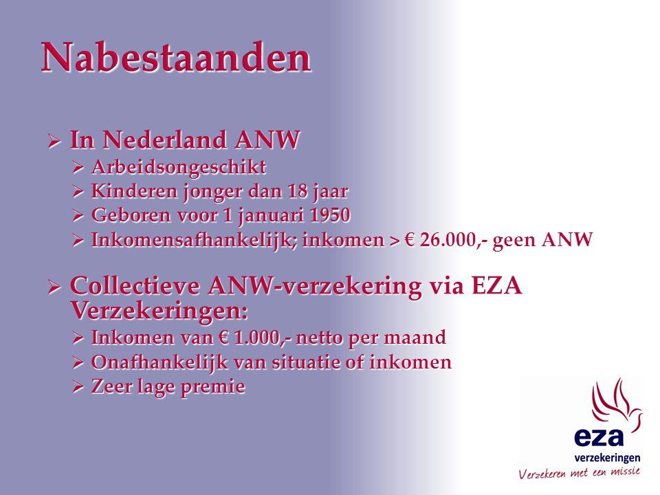  In Nederland ANW  Arbeidsongeschikt  Kinderen jonger dan 18 jaar  Geboren voor 1 januari 1950  Inkomensafhankelijk; inkomen > € 26.000,- geen ANW  Collectieve ANW-verzekering via EZA Verzekeringen:  Inkomen van € 1.000,- netto per maand  Onafhankelijk van situatie of inkomen  Zeer lage premie