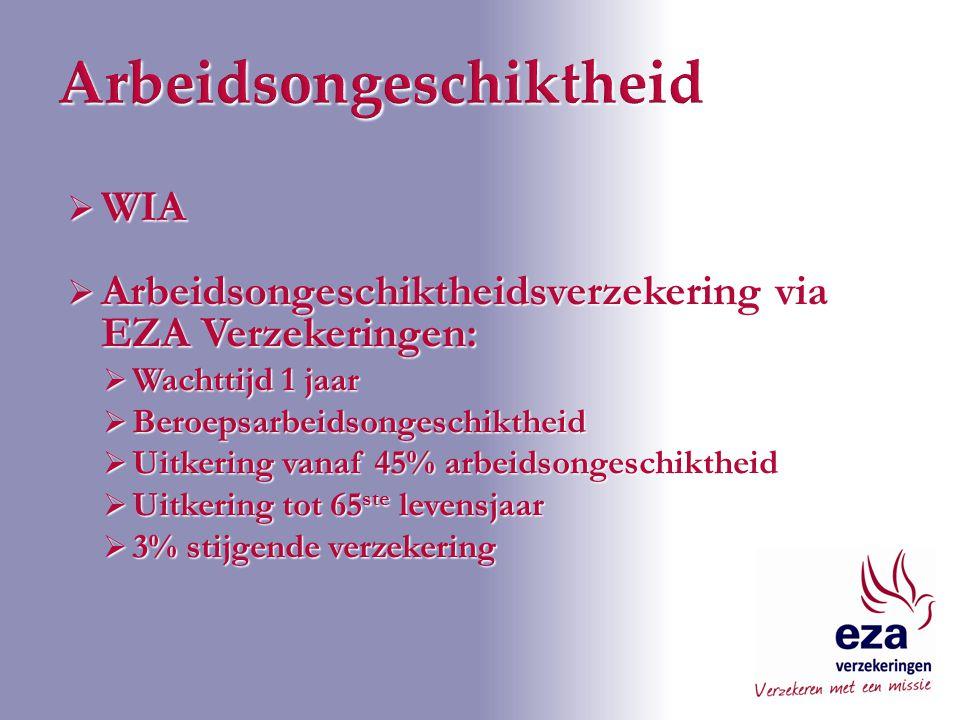  WIA  Arbeidsongeschiktheidsverzekering via EZA Verzekeringen:  Wachttijd 1 jaar  Beroepsarbeidsongeschiktheid  Uitkering vanaf 45% arbeidsongeschiktheid  Uitkering tot 65 ste levensjaar  3% stijgende verzekering