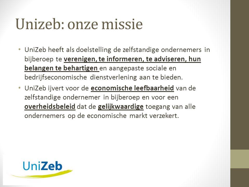 Unizeb: onze missie • UniZeb heeft als doelstelling de zelfstandige ondernemers in bijberoep te verenigen, te informeren, te adviseren, hun belangen te behartigen en aangepaste sociale en bedrijfseconomische dienstverlening aan te bieden.