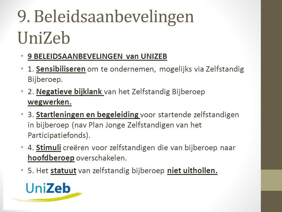 9. Beleidsaanbevelingen UniZeb • 9 BELEIDSAANBEVELINGEN van UNIZEB • 1.
