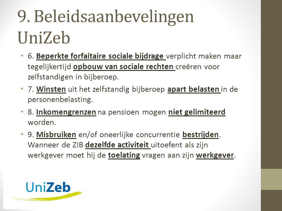 9. Beleidsaanbevelingen UniZeb • 6.
